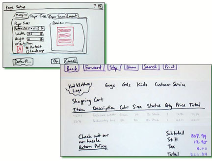 What a couple of Jared Spool's paper prototypes look like